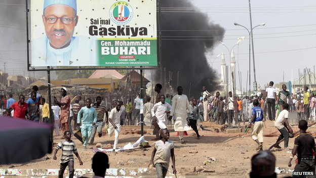 Protesters in the northern state of Gombe protest ahead of a visit by President Jonathan