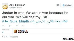 tweet about Jordan being in war.