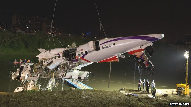 80789178 462745410 - Taiwan  Trans  Asia Plane  Crashes Into  River
