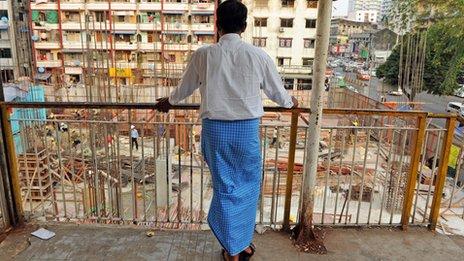 Man views Yangon construction