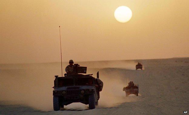 Humvees in Saudi Arabia 1990