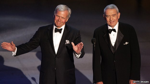 news reporters Tom Brokaw (L) and Dan Rather speak onstage at the 57th Annual Emmy Awards held at the Shrine Auditorium  in Los Angeles, California 18 September 2005