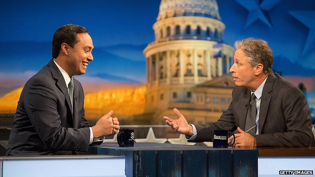 Congressman Joaquin Castro and host Jon Stewart at Austin, Texas 28 October 2014