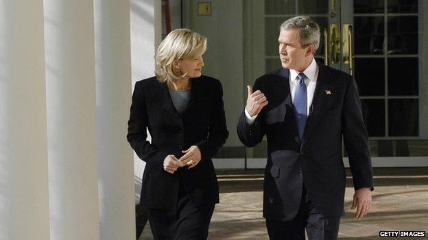 U.S. President George W. Bush talks to ABC News' Diane Sawyer during an interview 16 december 2003