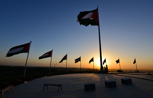 Palestinian flags at Rawabi