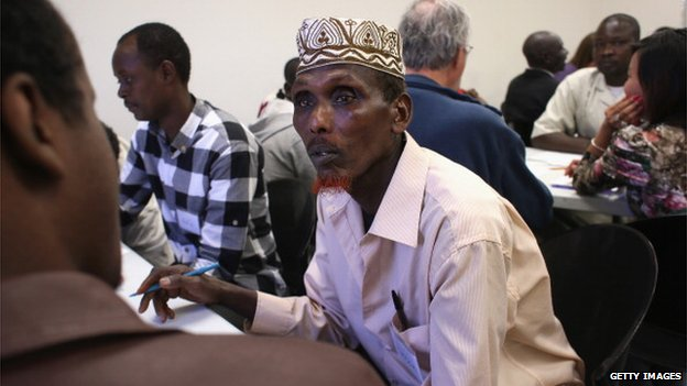 Somali refugee learns employment skills during a job readiness class held at the International Rescue Committee (IRC), center on February 27, 2013 in Tucson, Arizona