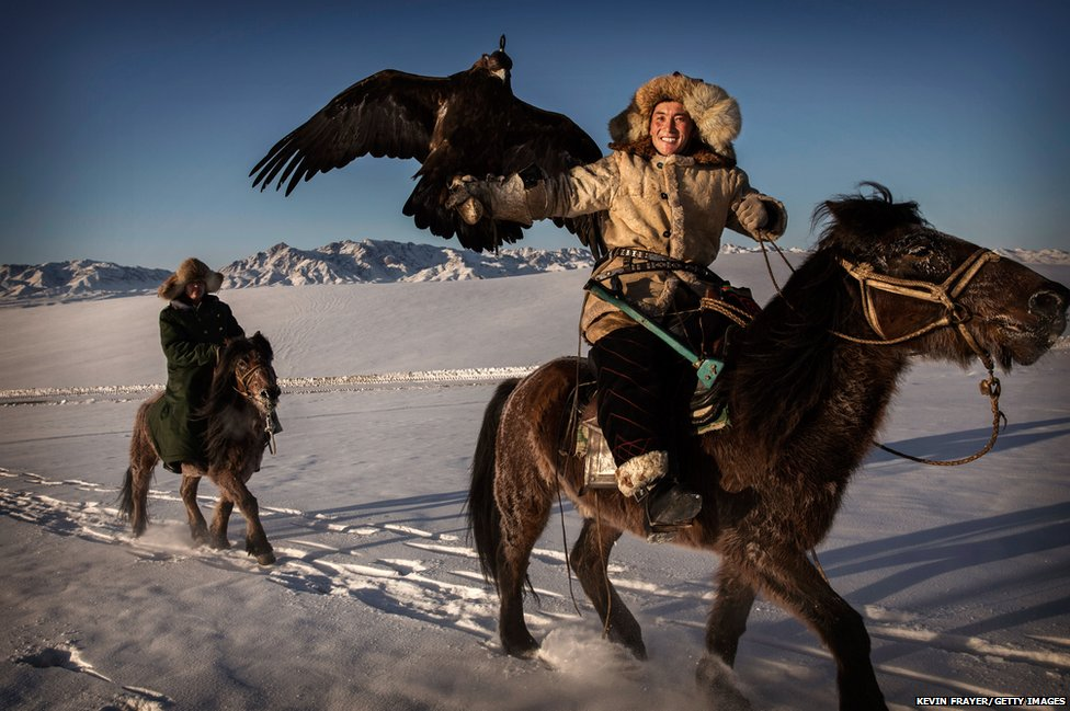 A Chinese Kazakh eagle hunter