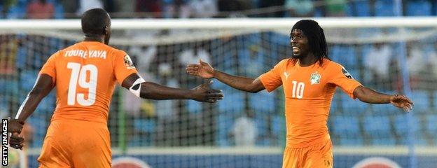 Yaya Toure and Gervinho of Ivory Coast