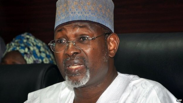 Attahiru Jega, head of the election commission, speaking in Abuja on 7 February 2015