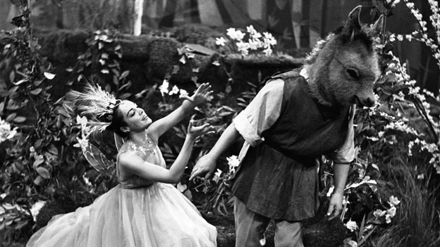 Natasha Parry and Paul Rogers in the BBC's 1958 production of A Midsummer Night's Dream