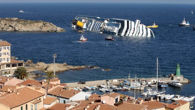 Costa Concordia leaning on its side