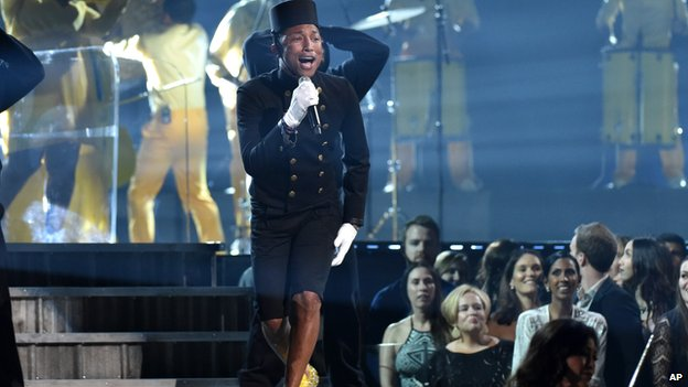 Pharrell Williams sings Happy at the 2015 Grammys.
