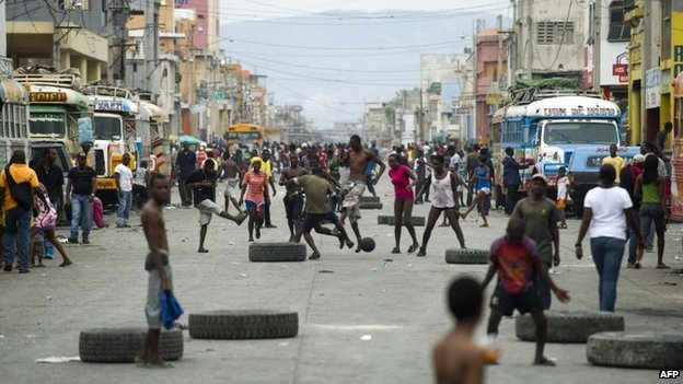 Road blocked during protest in Port-au-Prince
