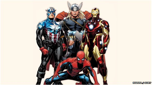 Spider-Man with Captain America, Thor and Iron Man