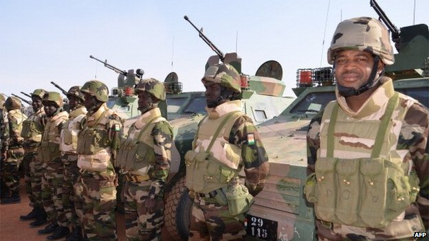 Niger's soldiers on 22 January 2013 at a training camp near Ouallam,