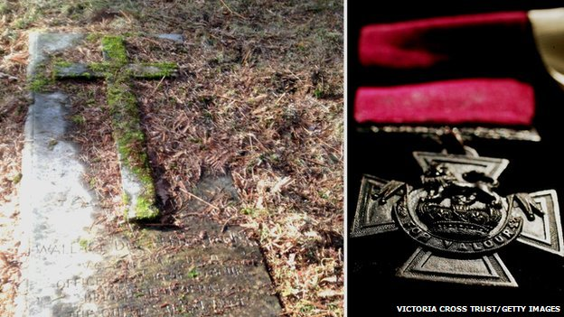 Images showing the grave of Wallace Wright VC and a Victoria Cross (C) Victoria Cross Trust/ Getty Images