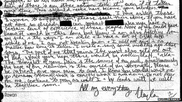 A letter written by IS hostage Kayla Mueller