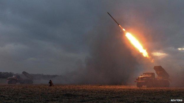 Ukrainian forces launch Grad rocket towards rebels near Debaltseve (9 Feb)