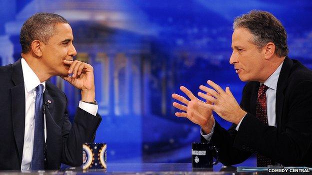 Jon Stewart interviews US President Barrack Obama in 2010