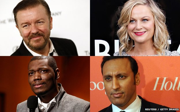 Ricky Gervais, Amy Poehler, Aasif Mandvi and Michael Che