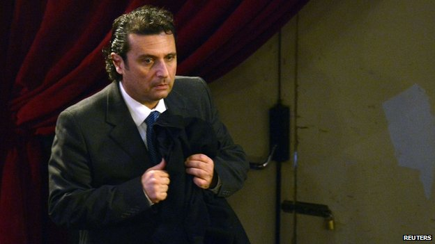 Capt Francesco Schettino in court in Grosseto, Italy (10 Feb 2015))