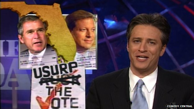 Screen shot from The Daily Show's election coverage in 2000.