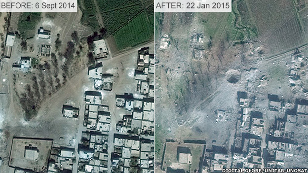 Before and after images of damage to border town Kobane, showing crater