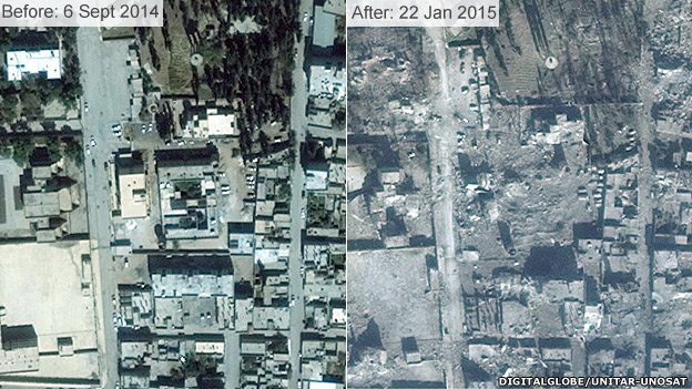 Before and after images of damage to border town Kobane, showing destroyed buildings