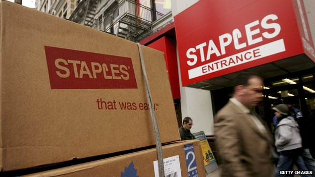 The outside of a Staples store.