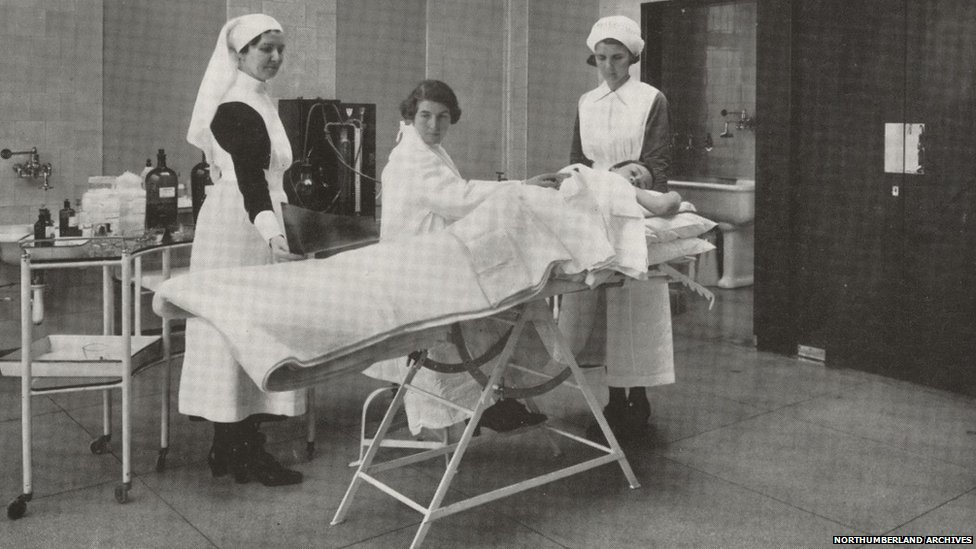 Artificial pneumothorax treatment being performed in Stannington (c) Northumberland Archives