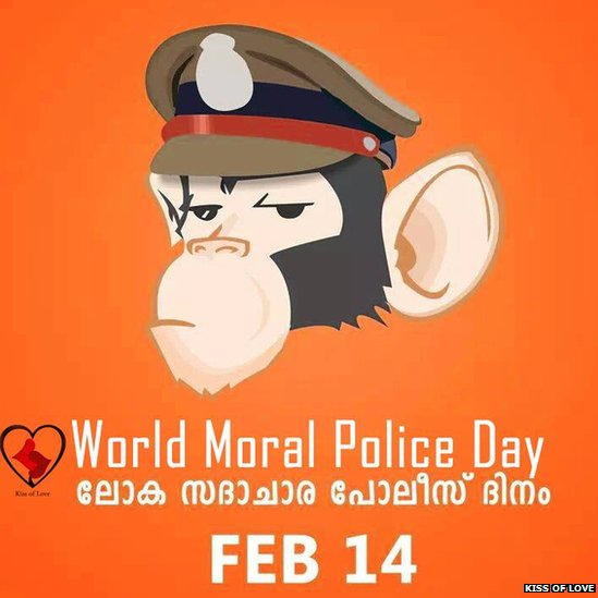 "A poster produced by the ""Kiss of Love"" group to protest what they say is unfair moral policing by Hindu groups."