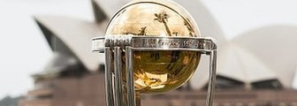 Cricket World Cup trophy with Sydney Opera House in the background