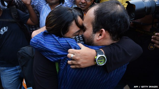 An Indian couple in a 'Kiss of Love' demonstration last November. Hindu political parties have vowed to crack down on similar public displays of affection this Valentine's Day