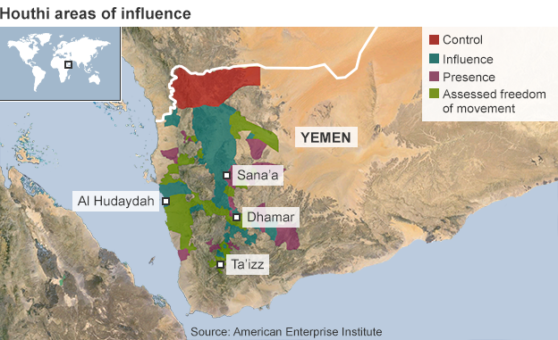Map showing Houthi areas of influence