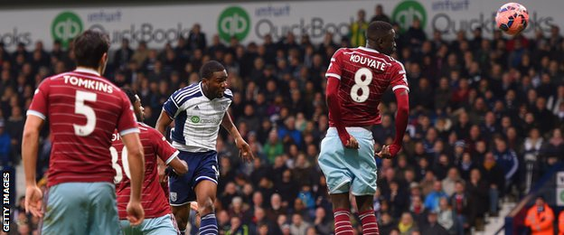 Brown Ideye scores for West Bromwich Albion against West Ham