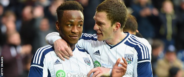 West Brom's Saido Berahino and Craig Gardner