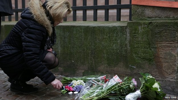 Flowers left outside synagogue in Copenhagen. 15 Feb 2015