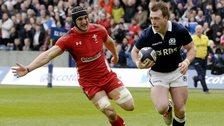 Stuart Hogg runs in Scotland's first try