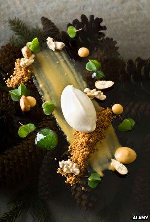 """Oak Caramel, Birch Ice Cream, Pine Jelly, Chestnut Cake and """"Nutella"""" prepared by Mads Refslund, Chef of MR Restaurant, in Copenhagen"""