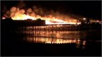 Hastings Pier on fire in October 2010