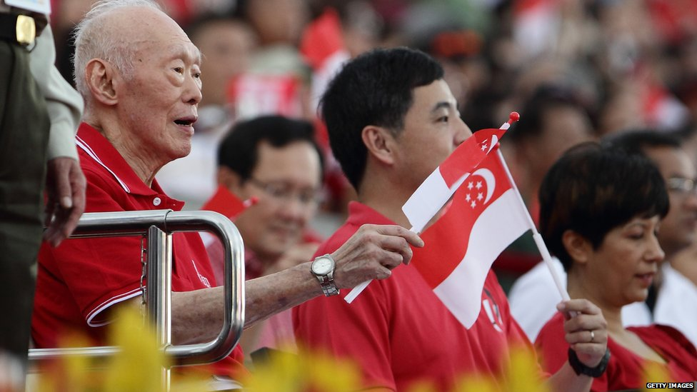 Lee Kuan Yew at National Day celebrations in Singapore (09 Aug 2014)