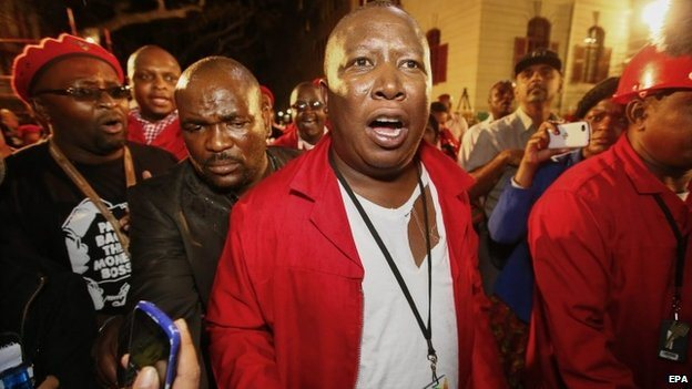 Julius Malema, the leader of the Economic Freedom Fighters after being thrown out of parliament