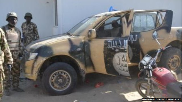 Handout from Nigeria's Defence Ministry of vehicle captured from Boko Haram fighters