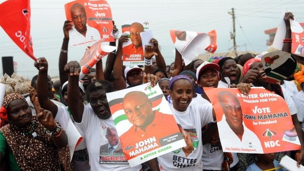 Party supporters wave posters of President John Mahama during the presidential rally of the ruling National Democratic Congress at Ashaiman, Greater Accra in Ghana on 3 December 2012
