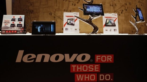 Lenova tablets and mobiles on display