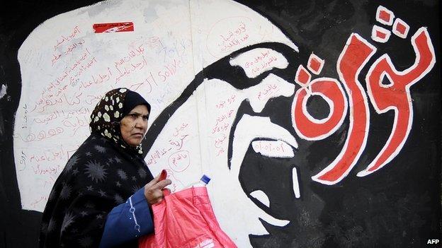 "A woman walks past graffiti reading ""revolution"" in Arabic in December 2011"