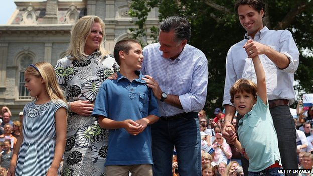 Mitt Romney and his family appear at a campaign event in 2012.