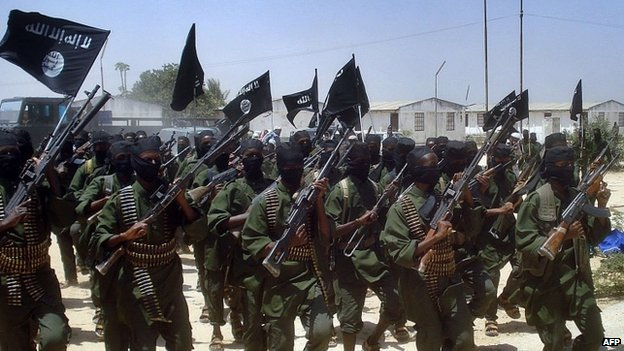 A file photo taken on 17 February, 2011 shows Islamist fighters loyal to Somalia's Al-Qaeda inspired al-Shabab group