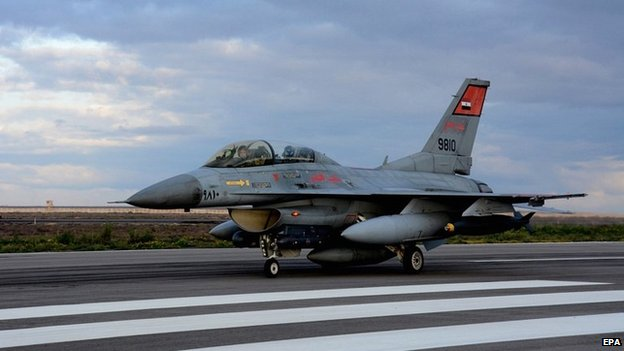 An Egyptian Army F-16 fighter jet prepares to take off to conduct raids on Islamic State militants in Libya - 16 February 2015