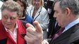 Gordon Brown speaking to Gillian Duffy, Rochdale, during 2010 general election campaign